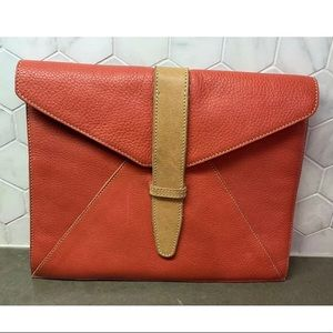 Roots Purse Envelope Clutch Red Pebbled Leather
